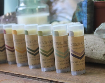 lavender + eucalyptus   raw organic natural lip balm   kissed roots apothecary