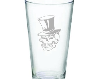 Skeleton with top hat pub glass, 14oz.
