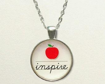 Inspire Teacher Necklace, teacher jewelry necklace, preschool teacher gift, for teacher, teacher appreciation gift ideas, teacher pendant