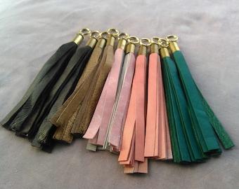 upcycled leather keychain tassel