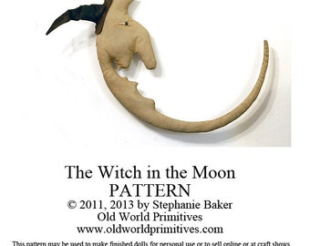 Primitive E-Pattern - Primitive Halloween Moon Man Wall Hanging - PDF File Digital Download