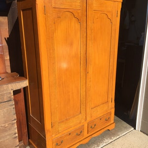 Antique Knock Down Wardrobe Armoire Grain Painted 19.5d21.5d55w84h Two  Chamfered Drawers Wheels Shipping