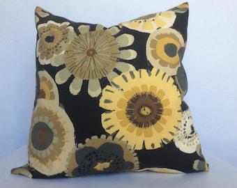 Yellow Flower Pillow Cover, Bold Floral Print, Mustard Yellow in Black Pillow, Cushion, Toss Pillow, Decorative sham