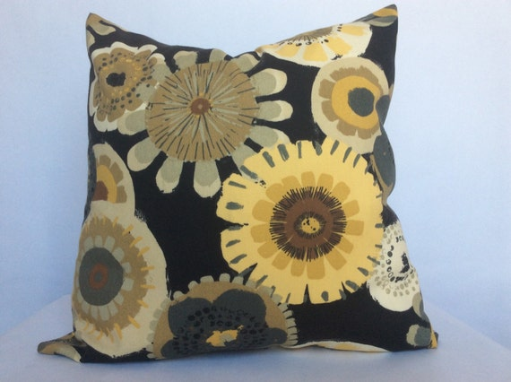 Yellow Flower Pillow Cover Bold Floral Print Mustard Yellow