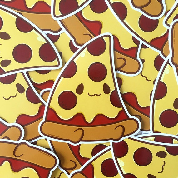 Cute pizza buddy kawaii carbs yummy food 8cm gloss vinyl notebook laptop phone sticker from jennifairyw on etsy studio