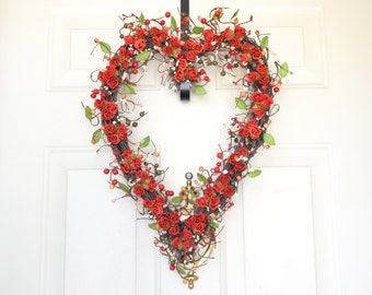Valentines Day Red heart wreath - Valentines Day rose wreath - Bright red - Prima roses