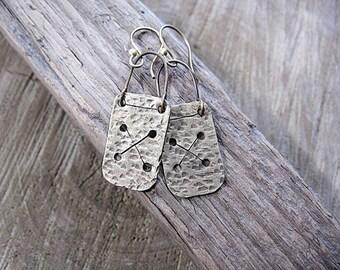 Long Rectangle Statement Hammered Brass Earrings Textured Minimalist Ethnic Earrings Rustic Boho Earthy Metalwork Earrings Gift for Her