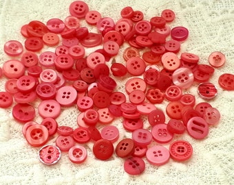 set of 50 red buttons, sewing or scrapbooking