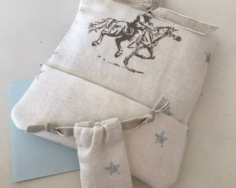 Tooth Fairy Hanger in Peony and Sage Mini Vintage Cowboys fabric