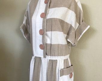 1980s Striped Sundress / Tan White / Size 14