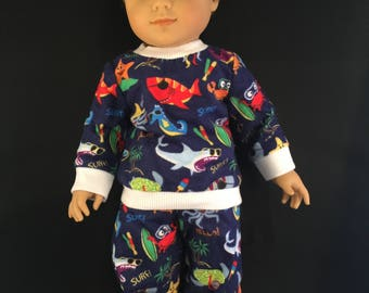 "Flannel pajamas for 18"" American Girl doll"