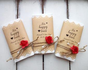 Happy tears tissue pack wedding favors, Custom happy tears handkerchief, Happy tears hankerchief, Personalized wedding ceremony hankies