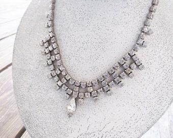 "Vintage Rhinestone Necklace - center drop- Elegant Bridal/Wedding Necklace 15"" adjustable hook "" True Vintage RS 3"