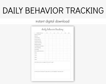 Daily Behavior Tracking: Mental Health, Depression, Anxiety, Therapy Journal, Home Management, Planner, Eating Disorder, Instant Printable
