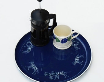 Small Round Tray,  Hand Decorated with Zebra Running, royal blue with white outside line, stainless steel