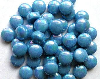 "12mm (1/2"") Turquoise Lake Blue Iridescent PEARL DROPS 50pc.// Round Circle Tiles//Mosaic Supplies//Crafts"