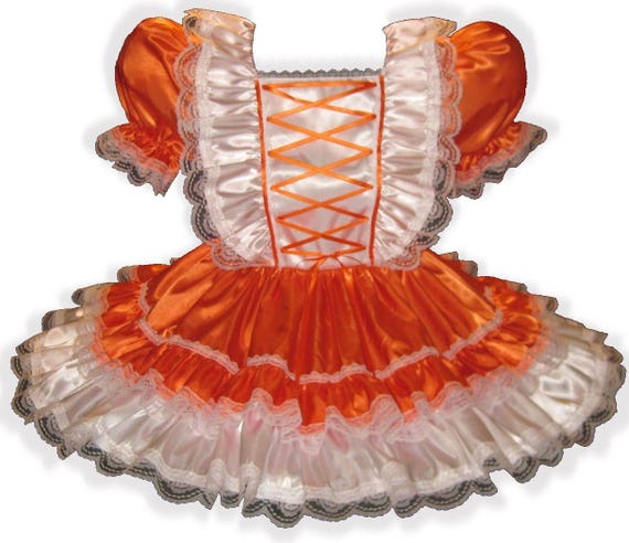 Lg ORANGE Adult Fit Custom Dress Sissy SATIN LEANNE Baby Ginger IEwqXHE