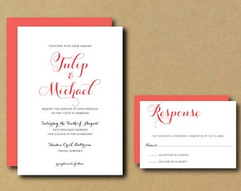 Printable Custom DIY Wedding Invitation - Tulip Chic Calligraphy
