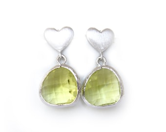 Apple Green Earrings Silver Heart Post Earrings Green Earrings Apple Green Bridesmaids Earrings Spring Green Weddings Sage Green Earrings