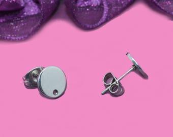 Silver 08x01mm stainless steel ear studs