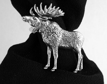 Moose Scarf Ring, English Pewter, Handmade in Great Britain (ab-1)