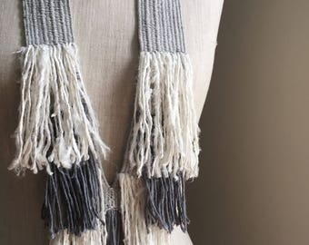 Handwoven Recycled Silk & Cotton Layered Fringe Necklace / Silver / Gray / White / Boho / Bohemian / Sustainable