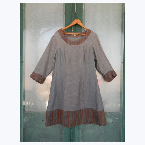 FLAX Engelheart 3/4 Sleeve Tunic Dress -S- Blue/Gray and Brown Linen