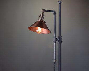 Adjustable Floor Lamp - Copper Shade - Industrial Lamp - Rustic Floor Lamp - Barn Lighting - Reading Floor Lamp
