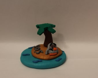 Statue= Deserted Island Penguin -Polymer Clay-