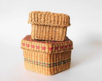 Vintage Baskets Wicker Boxes Jewelry Box Trinket Box