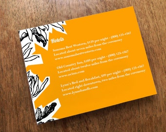 Printable Wedding Information Card - Dahlia Enclosure Card Printable - Orange Wedding Info Card