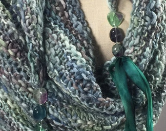 Wearable Fiber Art, Mindful Wrap-Fluorite Beads and Silk Ribbon on a Shade of Evening Sky Suri, Merino, Bamboo Mindfulness Mantle