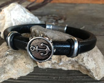 Antique Silver Anchor and Licorice Leather Men's Bracelet, Mens Leather Anchor Bracelet, Mens Bracelet, Black Leather Anchor Bracelet/Faith