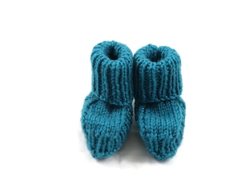 Hand Knitted Teal Baby Booties