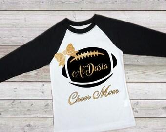 Football with Bow and Name Iron On / football iron on / Cheer Mom iron on /  football shirt / football with Monogram  iron on /  football