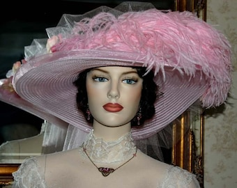 Victorian Hat, Kentucky Derby Hat, Ascot Hat, Tea Party Hat, Titanic Hat, Easter Hat, Women's Pink Hat - Pink Rose Crystal Fairy