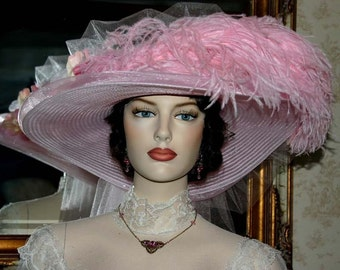 Kentucky Derby Hat Ascot Hat Victorian Hat Tea Hat Titanic Hat Easter Hat Women's Pink Hat - Pink Rose Crystal Fairy