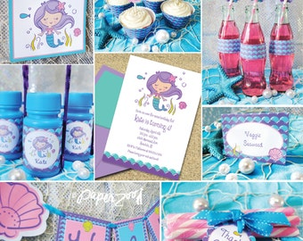 INSTANT DOWNLOAD,  Mermaid Birthday Printable Party Package, You Edit Yourself in Adobe Reader