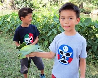 Luchador Azul - Blue Mexican Wrestler Kids T-Shirt