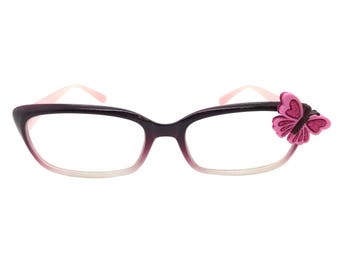 Women's Purple 1.0 Strength Reading Glasses with a Hand-Applied Pink Butterfly Embellishment. Spring Hinges for Comfort!