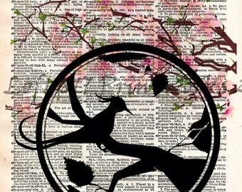 Cherry blossom art, japanese bird silhouette print, dictionary page art