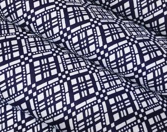 Indigo blue and white cotton yukata fabric - by the yard - abstract geometric diamonds