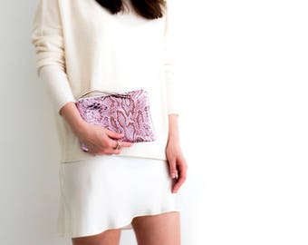 Pink Leather Clutch, Metallic Snake Pouch, Pink Metallic Purse, Metallic Pink Wedding Clutch, Pink Leather Evening Bag, Pink Makeup Pouch