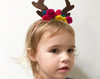 Deer Antlers and Flowers Headband, Antlers and Flower Crown, Ready to Ship