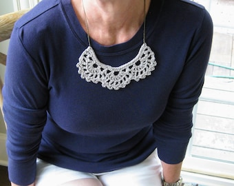 Crochet bib necklace, gray necklace, statement jewelry, vintage lace jewelry, bridesmaid gift, crochet jewelry, gray jewelry