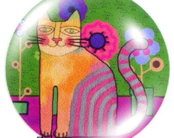 1 cabochon 30mm glass cat