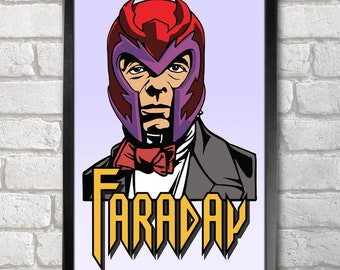 Michael Faraday - Magneto print + 3 for 2 offer! size A3+  33 x 48 cm;  13 x 19 in