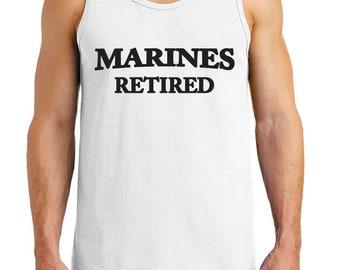 Men's Marines Retired Design Heavy Cotton Tank Tops – XS ~ 3XL