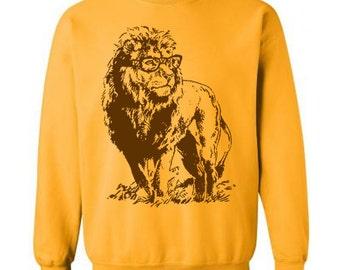 Lion Professor Sweater Unisex Sweatshirt Fleece Pullover Sweatshirt Lion Sweatshirt Glasses Funny Gift Ideas Book Geek Sweater