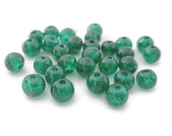 20 green pearls dark 6mm Crackle Glass